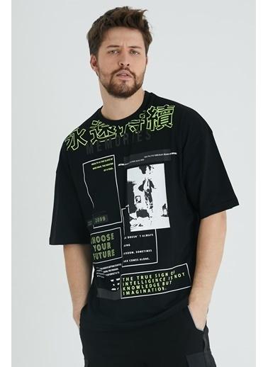 XHAN Lila Japon Karakter Baskılı Salaş T-Shirt 1Kxe1-44644-26 Siyah